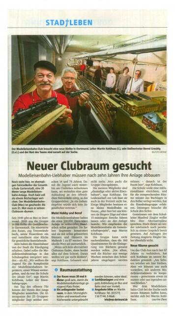 Presse 03 2016 Ruhrnachrichten - Neuer Clubraum gesucht